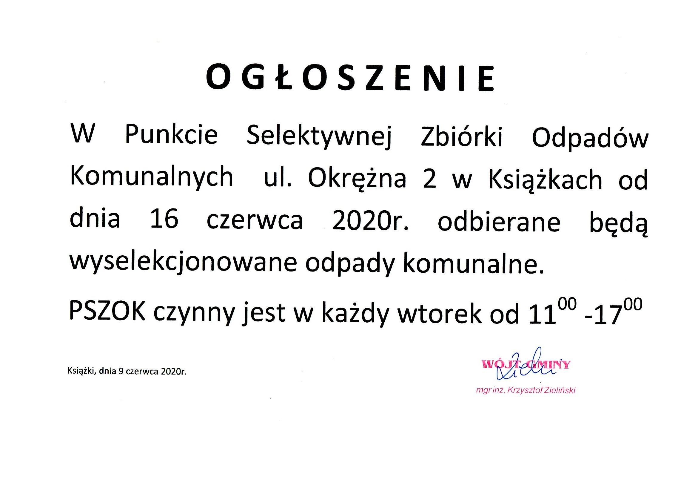 Ogłoszenie o otwarciu PSZOK od 16.06.2020 r.