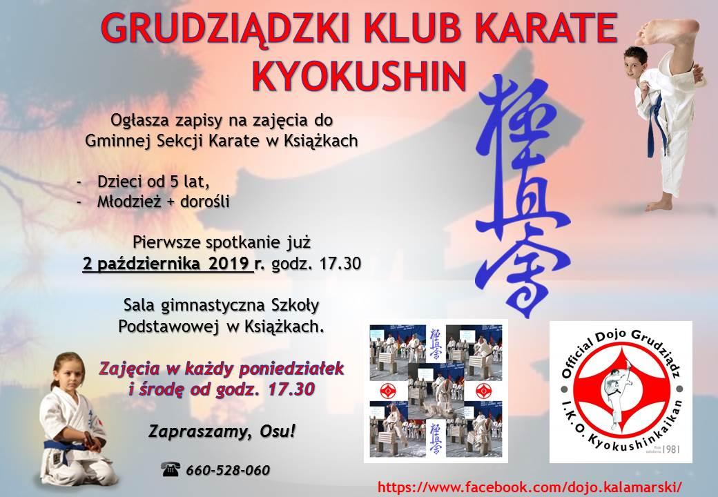 Zapisy na zaję@cia do Gminnej Sekcji Karate w Książkach