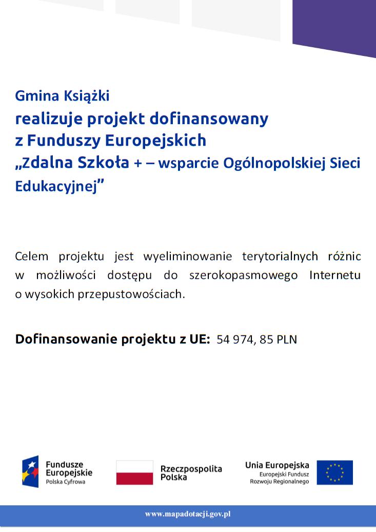 Zdalna szkoła plus w Gminie Księżki - plakat